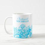 Bridal Shower Favour Floral Basket Turquoise