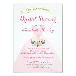 Bridal Shower Floral Bride Dress Diamond Ring 13 Cm X 18 Cm Invitation Card