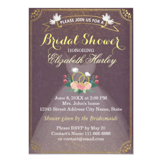Bridal Shower Floral Bride Dress Diamond Ring Gold 13 Cm X 18 Cm Invitation Card