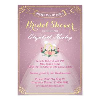 Bridal Shower Floral Bride Dress Diamond Ring Pink 13 Cm X 18 Cm Invitation Card