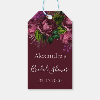 Bridal Shower Floral Marsala Burgundy Gift Tags