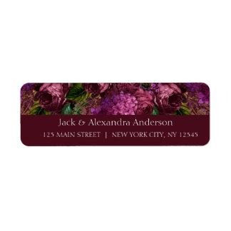 Bridal Shower Floral Marsala Burgundy Return Address Label