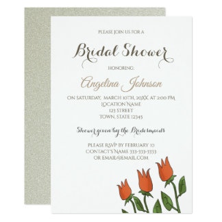 Bridal Shower Floral Tulips Naive Art White Pure Card