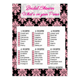 Bridal Shower game, What is your purse Postcard