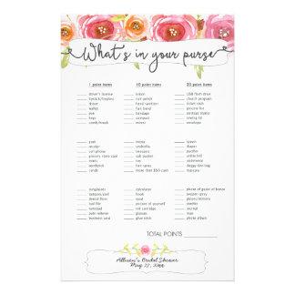 Bridal Shower Games purse / bingo, pink floral 14 Cm X 21.5 Cm Flyer