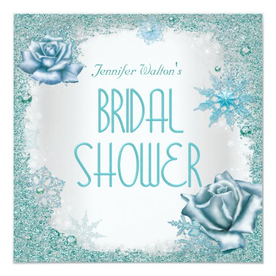 Bridal Shower Glitter Teal Blue White Roses Card