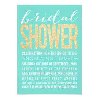 Bridal Shower Gold Glitter Aqua Party Invitation
