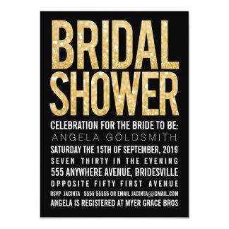 Bridal Shower Gold Glitter Black & White Invite