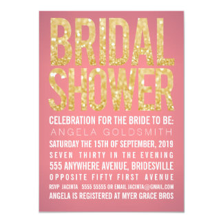 Bridal Shower Gold Glitter Coral Party Invitation