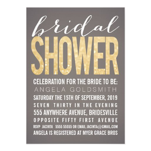 Bridal Shower Gold Glitter Gray Party Invitation