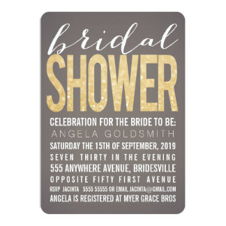 Bridal Shower Gold Glitter Gray Party Invitation