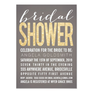 Bridal Shower Gold Glitter Grey Party Invitation