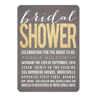Bridal Shower Gold Glitter Grey Party Invitation