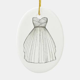 Bridal Shower Gown Bride Wedding Princess Dress Ceramic Ornament