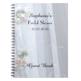 Bridal Shower Guest Book, Vintage Lace Spiral Notebook