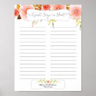 Bridal Shower Guest Sign In Sheet / blush floral Poster