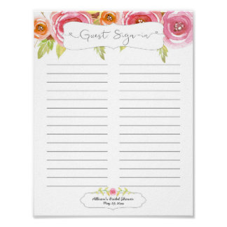 Bridal Shower Guest Sign In Sheet / pink floral Poster