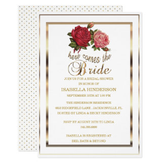 Bridal Shower - Here Comes the Bride - Rose Card