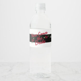 Bridal Shower, Here comes the Bride Water Bottle Label