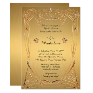 Bridal Shower Honouring, great Gatsby, GOLD Card