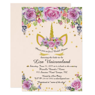 Bridal Shower Honouring, unicorn,pink,flowers Card