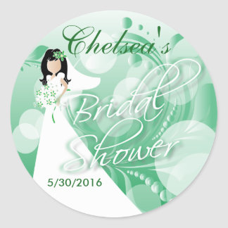 Bridal Shower in a Green and White Round Sticker