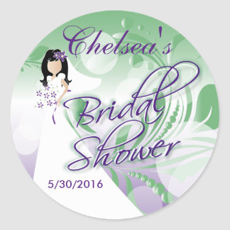 Bridal Shower in a Purple and Mint Green Round Sticker