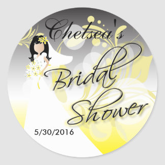 Bridal Shower in a Yellow and Gray Round Sticker