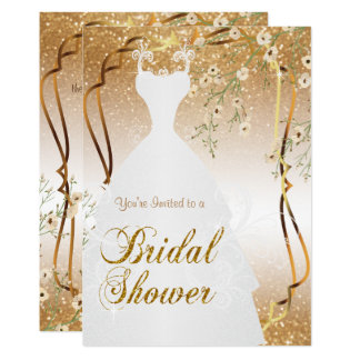 Bridal Shower in Gold Glitter Card