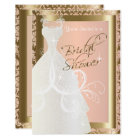 Bridal Shower in Metallic Gold and Pink Rose Card