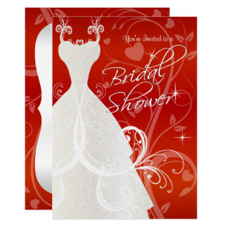 Bridal Shower in Red Floral Satin Card