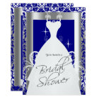 Bridal Shower in Royal Blue Damask and Silver Card