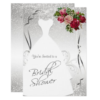 Bridal Shower in White and Silver Glitter Card