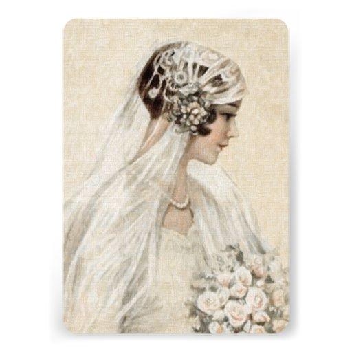 Bridal Shower Invitation 5x7 Vintage Bride
