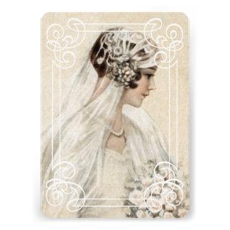 Bridal Shower Invitation 5x7 Vintage Bride w Frame