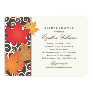 Bridal Shower Invitation   Autumn Fall Theme