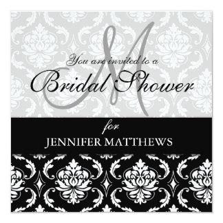 Bridal Shower Invitation Black Damask Monogram