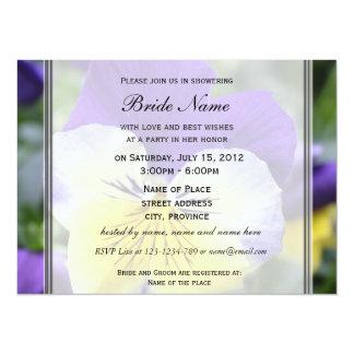 "Bridal shower invitation, blue pansy flower 5.5"" x 7.5"" invitation card"