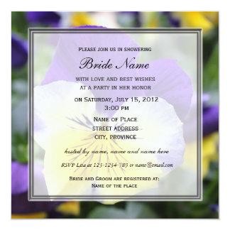 "Bridal shower invitation, blue pansy flower 5.25"" square invitation card"