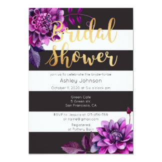 Bridal shower invitation gold. Black and purple