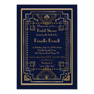 Great gatsby bridal shower invitations zazzle bridal shower invitationgreat gatsby navy gold invitation filmwisefo