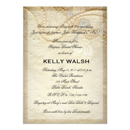 Pearl And Lace Wedding Invitations: Bridal Shower Invitation Lace And Pearls