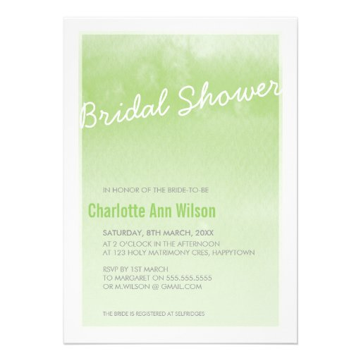 BRIDAL SHOWER INVITATION : ombre watercolor green