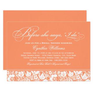 Bridal Shower Invitation | Orange Floral Lace