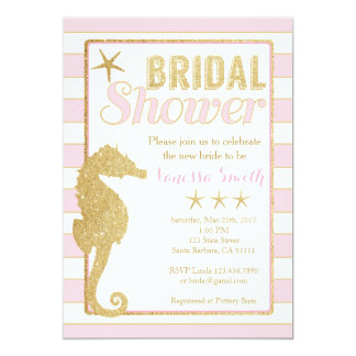 Bridal Shower Invitation Pink and Gold Seahorse
