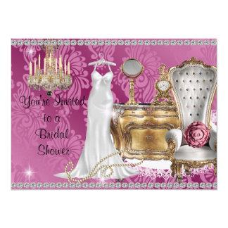 "BRIDAL SHOWER INVITATION PINK DAMASK Wallpaper 5.5"" X 7.5"" Invitation Card"
