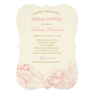 Bridal Shower Invitation   Pink Floral Peony