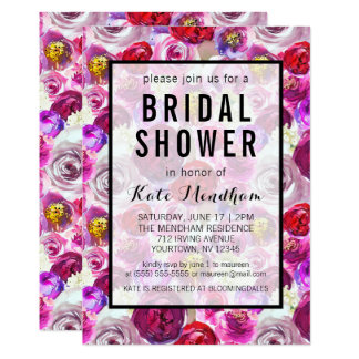 Bridal Shower Invitation Pink Purple Faux Gold