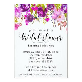 Bridal Shower Invitation Purple Watercolor Floral