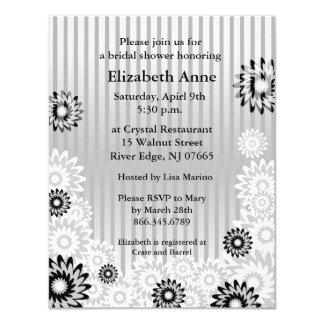 Bridal Shower Invitation Silver Flowers